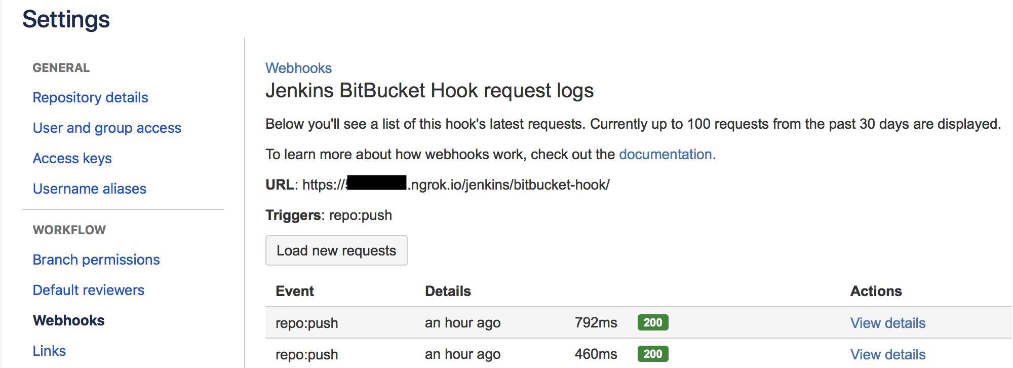 Jenkins BitBucket Webhook Successful 200 OK requests log