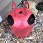Helium Tank Strawberry Planter side angle
