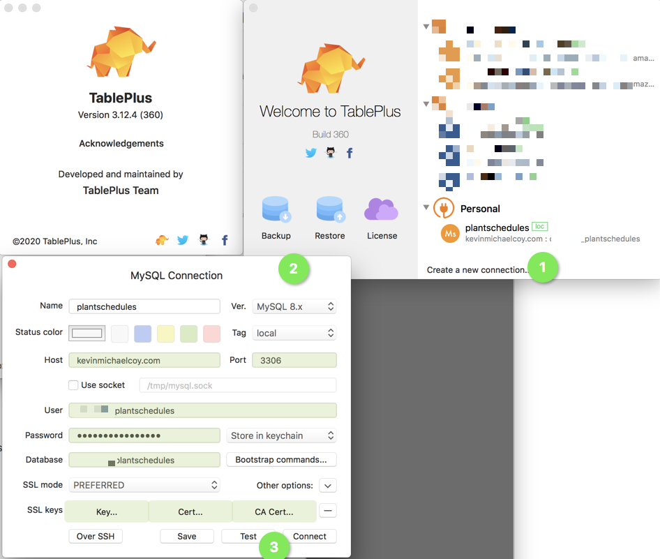TablePlus 3.12.4 Test Remote MySQL Database Connection