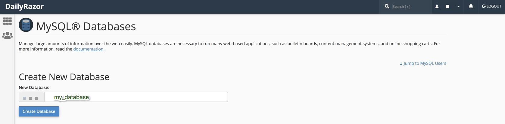 Creating a MySQL Database via CPanel