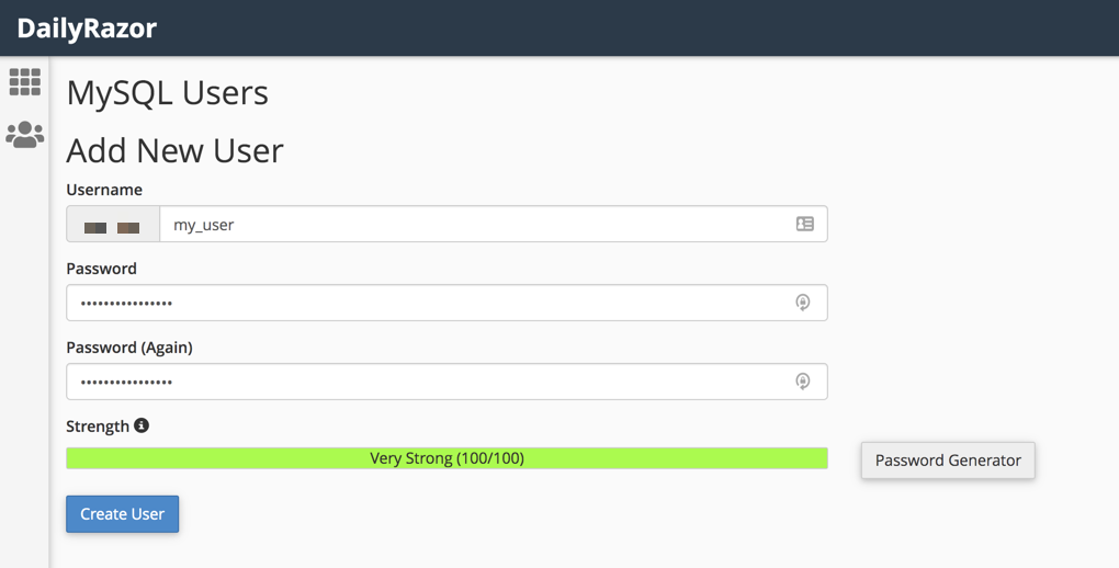 Creating a user for a MySQL database via CPanel