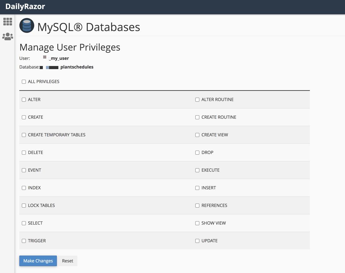 Adding MySQL privileges for a user via CPanel