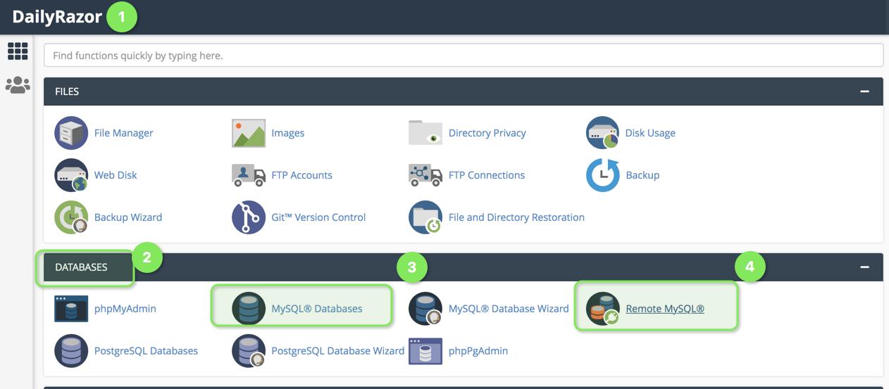 Remote MySQL icon in CPanel